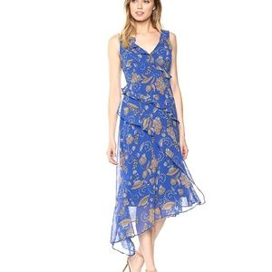 Taylor Asymmetrical Ruffle V-Neck Paisley Dress